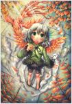 :o ahoge artist_name autumn_leaves barefoot bird blush border candy emperpep fantasy feathers from_above green_eyes grey_hair hair_feathers hair_ornament highres lollipop long_sleeves looking_up nail_polish original phoenix phoenix_wings ribbon tile_floor tiles traditional_media watercolor_(medium)