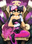 1girl aori_(splatoon) black_hair call_of_duty detached_collar earrings food food_on_head gloves highres jewelry lazorchef long_hair mole mole_under_eye object_on_head paintbrush pantyhose pointy_ears solo splatoon tentacle_hair