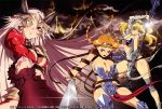 3girls absurdres aldra_(queen's_blade) armor breasts cleavage elina eyepatch highres leina miyazawa_tsutomu multiple_girls queen's_blade sword thigh-highs weapon