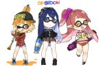 3girls bandaid baseball_cap blonde_hair blue_hair blush bow buruma commentary_request denim denim_shorts domino_mask double_v fangs fusion goggles goggles_on_head gym_uniform hair_bow hat highres holding honda_mio idolmaster idolmaster_cinderella_girls inkling inkling_(cosplay) leg_up long_hair looking_at_viewer mask miniskirt monster_girl multiple_girls name_tag one_eye_closed open_mouth paint_roller plaid plaid_shirt pleated_skirt shibuya_rin shimamura_uzuki shirt shoes short_hair short_shorts shorts sideways_hat skirt smile sneakers socks spawnfoxy splatoon standing super_soaker t-shirt tentacle_hair v yellow_eyes