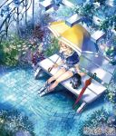 1girl arm_support belt bench blonde_hair blue_eyes blue_rose boots bracelet brick_floor bucket capelet cat closed_umbrella copyright_name eshi_x_kashi_ame-hen flower from_above garden glasses hair_between_eyes holding_umbrella japanese jewelry long_hair noki_(affabile) original rain rose sailor_collar short_sleeves shorts sitting solo umbrella vines