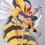bee beedrill blush cicada_block commentary_request insect_wings mega_beedrill no_humans pokemon pokemon_(creature) supainii vespiquen wall_slam wings