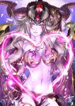 1girl black_gloves breasts cleavage demon_girl demon_horns elbow_gloves facial_mark fang gloves hair_ornament hera_(p&d) highres horns jewelry kei_(keiclear) light_brown_hair long_hair looking_at_viewer magic midriff navel necklace pointy_ears purple_skin puzzle_&_dragons raised_hand red_eyes signature smile solo star star-shaped_pupils symbol-shaped_pupils tattoo wings