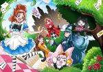 4girls akagi_towa alice_(wonderland) alice_(wonderland)_(cosplay) alice_in_wonderland amanogawa_kirara animal_ears aroma_(go!_princess_precure) arudebido blue_dress blue_eyes blue_hair book bowtie brown_hair card closed_eyes cosplay crossover dress eyelashes formal go!_princess_precure happy haruno_haruka hat highres kaidou_minami long_hair looking_at_another miss_siamour multiple_girls open_mouth playing_card precure puff_(go!_princess_precure) puffy_sleeves queen_of_hearts queen_of_hearts_(cosplay) rabbit_ears red_dress red_eyes redhead ribbon short_hair shut_(go!_princess_precure) shut_(go!_princess_precure)_(cosplay) smile striped striped_legwear suit tagme top_hat violet_eyes