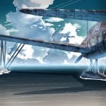 airplane clouds cloudy_sky floating military no_humans original rust siqi_(miharuu) sky weapon world_war_ii
