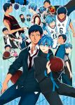 2boys animal animal_ears aomine_daiki artist_request baby back-to-back ball balloon basketball bird blue_hair cat_ears cat_tail clenched_hand dark_skin dual_persona grin happy hug japanese_clothes kimono kuroko_no_basuke kuroko_tetsuya male_focus multiple_boys necktie open_mouth police police_uniform school_uniform short_hair smile sportswear striped striped_background tail teeth traditional_clothes uniform