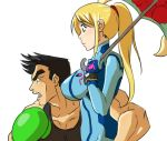 1boy 1girl black_hair blonde_hair bodysuit boxing_gloves crossover gloves jojo_no_kimyou_na_bouken joseph_joestar_(young) little_mac long_hair matsu-sensei metroid nintendo parody ponytail punch-out!! samus_aran short_hair super_smash_bros. suzi_quatro tank_top umbrella zero_suit