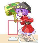 1girl baseball_base bowl hat highres japanese_clothes kimono mallet obi purple_hair sash shinapuu short_hair solo sukuna_shinmyoumaru touhou violet_eyes