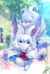 building colored fate/grand_order fate_(series) flower flower_pot four_(fate/grand_order) no_humans petals plant potted_plant semi_(delcatty) solo tree violet_eyes walking