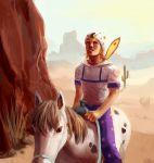 absurdres artist_name blonde_hair blue_eyes cactus feathers hat highres horse horseback_riding horseshoe johnny_joestar jojo_no_kimyou_na_bouken koffo-art riding saguaro signature steel_ball_run
