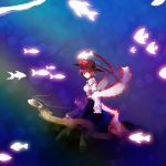 1girl fish frills hat hat_ribbon long_skirt long_sleeves looking_at_viewer nagae_iku nr_(cmnrr) oarfish puffy_sleeves purple_hair red_eyes ribbon shawl shirt short_hair skirt smile solo touhou