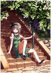 1girl arm_support artist_name ass blue_eyes bob_cut collared_shirt commentary cracked_floor dated ears hair_ribbon hairband highres katana knee_blush kneehighs konpaku_youmu leaning_back looking_at_viewer mary_janes nsio outdoors ribbon shading shirt shoes short_hair signature silver_hair sitting sitting_on_stairs skirt solo stairs straight_hair sword touhou tree weapon