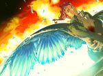angel_wings blood bloody_clothes coat earrings feathers fire gakuran jewelry jojo_no_kimyou_na_bouken kakyouin_noriaki open_clothes open_coat redhead scar scar_across_eye school_uniform signature tsuruko_turuta wings