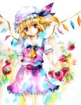 colorful flandre_scarlet food fragran0live fruit hat head_tilt looking_at_viewer ponytail red_eyes short_hair side_ponytail smile strawberry touhou traditional_media watercolor_(medium) wings