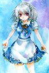 fragran0live izayoi_sakuya knives maid red_eyes silver_hair touhou traditional_media watercolor_(medium)