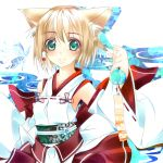 bad_id blonde_hair detached_sleeves fox_ears green_eyes japanese_clothes miko original shirokitsune short_hair wind_chime