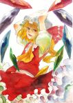 ebi_(daidalwave) ebi_(pixiv) flandre_scarlet hat ribbon touhou traditional_media watercolor_(medium)