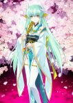 1girl aqua_hair black_(artist) fate/grand_order fate_(series) flower japanese_clothes kiyohime_(fate/grand_order) long_hair official_art solo thigh-highs tree upscaled waifu2x yellow_eyes