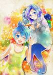 2girls absurdres artist_request blue blue_eyes blue_hair character_name disney glasses highres inside_out joy_(inside_out) multiple_girls open_mouth personification pixar sadness_(inside_out) short_hair smile wink