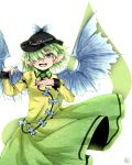 1girl armband character_name color_switch dress earrings eyelashes feathered_wings fingernails gradient_dress green_dress green_eyes green_hair hair_over_one_eye hands_up hat highres hiyashi_mikan jewelry komeiji_koishi long_sleeves mystia_lorelei open_mouth pointy_ears sharp_fingernails short_hair signature small_breasts solo teeth tongue touhou white_background wings yellow_dress