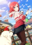1girl :o animal autumn_leaves bird blue_sky blush bracelet clouds dalmatian dog fence heavy_breathing highres hoodie jewelry labrador_retriever leaf long_sleeves looking_down love_live!_school_idol_project macaw nishikino_maki outdoors pantyhose parrot redhead skirt skirt_pull sky tongue tongue_out unzipped vertical-striped_skirt vertical_stripes violet_eyes zipper