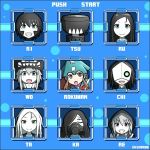 6+girls ahoge character_select chi-class_torpedo_cruiser fake_screenshot gameplay_mechanics gas_mask grin ka-class_submarine kantai_collection kei-suwabe kuma_(kantai_collection) multiple_girls pun re-class_battleship ri-class_heavy_cruiser rockman rockman_(character) rockman_(character)_(cosplay) rockman_(classic) ru-class_battleship shinkaisei-kan smile ta-class_battleship tsu-class_light_cruiser twitter_username wo-class_aircraft_carrier