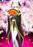 1girl black_(artist) fate/grand_order fate_(series) flower japanese_clothes kiyohime_(fate/grand_order) long_hair official_art red_eyes silver_hair solo thigh-highs tree upscaled waifu2x