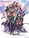 4boys 6+girls :d animal_ears animal_hood armor axe bangs battle_axe black_pants blonde_hair blue_eyes blue_sky cape cat_ears clouds cloudy_sky copyright_name crossed_arms dark_skin esser facepaint facial_hair fangs funf gauntlets gloves granblue_fantasy green_eyes grey_hair hair_between_eyes hair_intakes hair_ornament hair_over_one_eye hand_on_hip high_heels holding holding_sword holding_weapon hood horns huge_weapon long_hair looking_at_viewer mask minaba_hideo miniskirt multiple_boys multiple_girls mustache nio_(granblue_fantasy) official_art okto open_mouth orange_hair pants pointy_ears polearm puffy_pants purple_hair quatre red_eyes red_skirt sarasa_(granblue_fantasy) short_hair siete six_(granblue_fantasy) skirt sky smile song_(granblue_fantasy) spear standing sword thigh-highs uno_(granblue_fantasy) violet_eyes weapon white_gloves white_hair white_skin zettai_ryouiki
