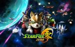 4boys airplane arwing blue_eyes copyright_name explosion falco_lombardi fox_mccloud furry green_eyes hat headset highres jacket laser_beam looking_at_viewer mecha multiple_boys nintendo no_humans official_art peppy_hare planet red_eyes scouter slippy_toad space space_craft star_fox star_fox_zero wallpaper wolfen