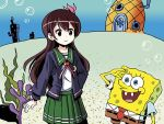 bubble commentary coral_reef crossover food fruit kantai_collection kisaragi_(kantai_collection) pantyhose pineapple remodel_(kantai_collection) salute seaweed sixten spongebob_squarepants spongebob_squarepants_(character) underwater