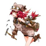1girl :d asymmetric_gloves bag bangs boots bow character_request copyright_request fingerless_gloves gloves goggles_on_hat hammer hat heart holding kyuusugi_toku leaning_forward long_hair looking_at_viewer low-tied_long_hair nail one_leg_raised open_mouth overalls redhead shorts shoulder_bag simple_background sleeveless smile solo suspenders white_background yellow_bow yellow_eyes