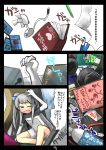 1girl blue_eyes book bottle box buried_alive card clutter controller electric_fan falling falling_card game_controller gaoo_(frpjx283) headphones highres lighter minigirl original paper partially_translated pencil stapler tablet-tan translation_request trembling water_bottle white_hair yuu-gi-ou