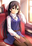 1girl belt blue_dress book_on_lap brown_eyes brown_hair dress dust hair_between_eyes hand_in_hair jewelry light_rays long_sleeves looking_at_viewer love_live!_school_idol_project mmrailgun necklace notebook pantyhose seat sitting smile solo sonoda_umi sunlight train train_interior turtleneck window