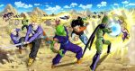 1girl android_16 android_17 android_18 aura black_hair blonde_hair cell_(dragon_ball) cell_junior dr._gero dragon_ball dragon_ball_z fight frieza multiple_boys piccolo son_gohan son_goku sword tenshinhan trunks_(dragon_ball) trunks_(future)_(dragon_ball) vegeta weapon