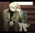1boy 1girl anna_liebert blonde_hair blue_eyes bret13 brother_and_sister brown_hair hands_together head_on_shoulder jacket johan_liebert letterboxed monster_(manga) official_style siblings sitting stairs twins watermark web_address
