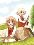 2girls :d black_legwear blonde_hair blush brown_eyes brown_hair clouds dutch_angle grass hair_ornament hairclip hidamari_sketch highres holding holding_pencil kneehighs loafers long_sleeves miyako multiple_girls open_mouth outdoors pencil quro_(black_river) school_uniform shirt shoes short_hair sitting skirt sky smile tree vest wariza white_shirt wing_collar yellow_eyes yuno