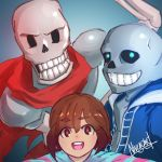 2boys androgynous artist_name blue_eyes brown_eyes brown_hair frisk_(undertale) glowing glowing_eyes hoodie multiple_boys nivlacart papyrus_(undertale) sans scarf shirt skeleton smile striped striped_shirt tagme undertale