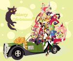 6+boys akira_agarkar_yamada black_hair blonde_hair bow car christmas crossover dark_skin facial_mark geta gift glasses haru_(tsuritama) irabu_ichirou japanese_clothes kusuriuri_(mononoke) kuuchuu_buranko male_focus map merry_christmas mononoke motor_vehicle multicolored_hair multiple_boys multiple_persona ninagawa_yaeko redhead sanada_yuki santa_costume smile tsuritama usami_natsuki v vehicle