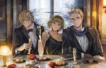 1girl 2boys 38ban alcohol arm_grab arm_rest axis_powers_hetalia bangs bare_shoulders belgium_(hetalia) black_bowtie black_dress black_gloves black_jacket blonde_hair bowtie champagne champagne_flute collarbone collared_shirt corsage cup dress dress_shirt drinking_glass earrings elbow_rest elbows_on_table flower formal gloves green_eyes hair_over_one_eye hairband head_tilt holding_cup indoors jacket jewelry lamp long_sleeves looking_at_viewer looking_away looking_to_the_side luxembourg_(hetalia) macaron multiple_boys netherlands_(hetalia) off-shoulder_dress open_mouth plate shirt short_hair sleeveless smile spiky_hair suit table toast_(gesture) tuxedo white_shirt window