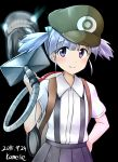 1girl alternate_headwear aqua_eyes artist_name black_background blue_hair blush character_request dated glowing glowing_eyes hair_ribbon hand_on_hip hat highres kamelie kantai_collection looking_at_viewer luigi's_mansion mario_(series) ooshio_(kantai_collection) parody pleated_skirt ribbon school_uniform serafuku shinkaisei-kan short_hair short_sleeves short_twintails simple_background skirt smile super_mario_bros. suspenders teeth twintails vacuum_cleaner