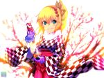 1girl blonde_hair blue_eyes edna_(tales) fur_trim furisode_(pixilvina) hair_ribbon hairband hakama highres japanese_clothes kanchuumimai kimono looking_at_viewer plum plum_blossoms purple_gloves ribbon short_hair side_ponytail smile solo tales_of_(series) tales_of_zestiria tress_ribbon