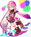 1girl bike_shorts bomb boots collared_shirt commentary container domino_mask dutch_angle green_eyes gun highres holding inkling long_hair looking_to_the_side mask nintendo paint_splatter pink_hair plaid plaid_shirt pointy_ears shirt shoes single_vertical_stripe solo splatoon standing tentacle_hair thi_fure walking weapon