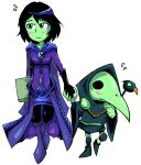 1boy 1girl black_hair blush book cape gloves green_eyes green_skin height_difference holding_hands mona_(shovel_knight) nervous plague_doctor plague_doctor_mask plague_knight setz shovel_knight wand