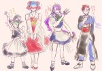 4boys alternate_costume apron blue_eyes blue_hair blush bow braid cosplay crossdressing detached_sleeves enmaided glasses green_hair hair_bow hair_over_one_eye hair_tubes hakurei_reimu hakurei_reimu_(cosplay) hat horns izayoi_sakuya izayoi_sakuya_(cosplay) james_p._sullivan jeff_fungus kirisame_marisa kirisame_marisa_(cosplay) knife long_hair maid maid_headdress michael_wazowski monsters_inc. morichika_rinnosuke morichika_rinnosuke_(cosplay) multiple_boys one-eyed personification purple_hair randall_boggs ribbon sharp_teeth short_hair skirt slit_pupils smile touhou translation_request twin_braids very_long_hair witch_hat