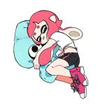 bike_shorts blush character_pillow domino_mask inkling mask pillow pillow_hug pointy_ears shoes sleeping sneakers splatoon squid t-shirt tagme tentacle_hair white_background yoshida_(yooosida)
