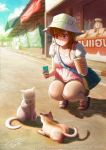 1girl 2015 :> awning bag bangs bare_legs bendy_straw blouse bow brown_hair cat cellphone collarbone cup drinking_straw handbag hat hat_bow hat_ribbon holding_cup holding_phone long_hair looking_down original outdoors phone polka_dot polka_dot_blouse puffy_short_sleeves puffy_sleeves ribbon road sandals shadow short_shorts short_sleeves shorts shoulder_bag signature sky smile solo sommimi squatting sun_hat sunlight taking_picture violet_eyes watermark web_address weighing_scale