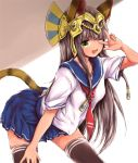1girl ;d animal_ears bastet_(p&d) black_legwear blush brown_hair cat_ears cat_tail dark_skin egyptian fang green_eyes jewelry long_hair looking_at_viewer one_eye_closed open_mouth pleated_skirt puzzle_&_dragons school_uniform serafuku silver_(pixiv5594793) sketch skirt smile solo tail thigh-highs v w zettai_ryouiki