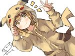 1girl artist_name brown_eyes brown_hair character_hood commentary_request darkside inazuma_(kantai_collection) kantai_collection looking_at_viewer pikachu_costume pikachu_ears pikachu_tail pokemon raised_hand smile solo tail