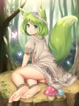 1girl animal_ears ankle_cuffs aqua_eyes arm_support bangs barefoot blue_eyes bob_cut brown_hair butterfly dress feet flower forest fox_ears fox_tail from_behind full_body green_hair hair_flower hair_ornament head_wreath highres looking_at_viewer looking_back moss mushroom nature original outdoors plant puffy_short_sleeves puffy_sleeves sand-rain sasaame short_dress short_hair short_sleeves sitting smile soles solo tail toes tree tree_stump