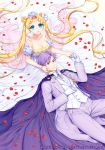 1boy 1girl artist_name bare_shoulders bishoujo_senshi_sailor_moon blonde_hair blue_eyes bow bowtie bracelet breasts cape chiba_mamoru cleavage couple crescent crown double_bun dress endymion facial_mark flower forehead_mark formal gloves hair_flower hair_ornament hetero holding_hands jewelry kneeling long_hair lying neo_queen_serenity pants petals pink_bow purple_hair rose_petals shainea smile strapless_dress suit tsukino_usagi twintails violet_eyes watermark web_address white_bow white_dress white_gloves